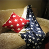 comfortable star design printed micro fleece with sherpa backing sofa bed air conditioning blanket