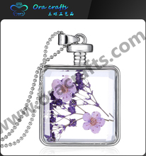 Latest dry dried flower and lavender DIY Global Glass Bubble Glass pendant long chain necklace
