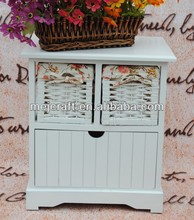 white color ramantic home furniture wooden storage wicker drawer cabinet