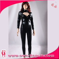 Sexy leather top and pu pants pictures of women in nylon catsuits