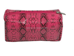 NEW arrival wholesale personalize pu vanity bag for Lady 2015,Snake Pattern canvas for main body