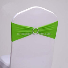 green stretch chair sash for wedding spandex chair band with round buckle