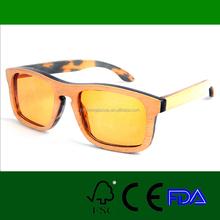 Latest wood and buffalo horn fashion orange lens sunglasses LS4010-C2