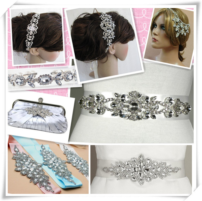 Wholesale rhinestone crystal applique for wedding dresses WRA-572