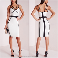 Lady new fashion sexy constrat pipe bodycon bandage dress wholesale double strap party dress