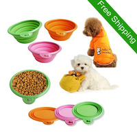 Free Shipping Hot Sale Environmental Protection Silicone Folding Pet Bowl for Dog Cat Portable Take Easily Wholesale Price