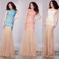 Fashion 2016 Sexy Sheath Scoop Cap Sleeve Open Back Floor-length Long Lace Party Prom dresses Gown H103