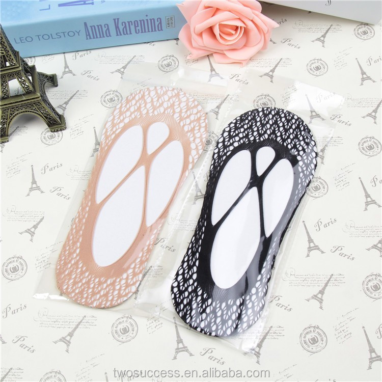 Lady's Custom Fashional lace silicone Invisible No-show Socks (2).jpg