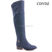 CDYDZ K1020-S4951A 2015 blue suede knee high side zipper flat boots for Women 2015 factory china