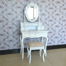 Cosmetics vanity wooden white dresser with mirror and stool