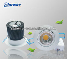 7W hotel market COB led recessed downlight 90v-260v 25/40/60 multi Degree is availble