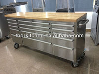 "72"" stainless steel garage tool trolley with with flat top"