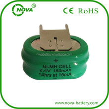 nimh button cell 2.4v 140mah rechargeable battery pack