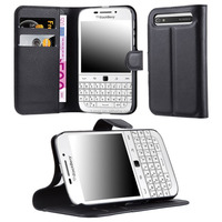 Lichee Wallet Phone Case Cover With Stand For Blackberry Q20