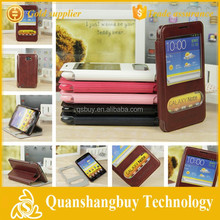 High quality cell phone window flip cover for samsung Galaxy Note i9220 N7000 Case