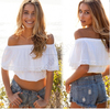 womens summer white off-shoulder crop top white lace top for women