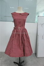 Wholesale Cheap Red with polk dots 50s Audrey Hepburn retro party rockabilly plus size 4XL ladies summer print dresses Vestidos