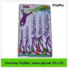 6cs colorful non stick coating kitchen knives with blister card