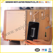 Factory Exquisite Design A5 Leather Notebook Ring Binder Power Bank Notebook