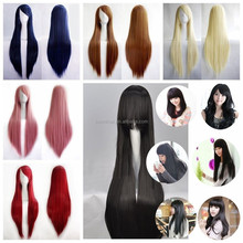 Mouse over image to zoom New-Fashion-Womens-Wigs-Long-Straight-Cosplay Costume Party Wig 80cm 100cm