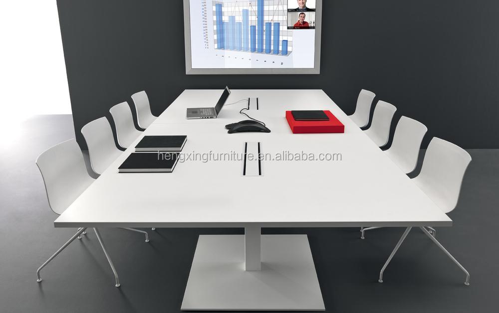 White Color Square Design Chrome Metal Conference Table For Person - 8 person conference table