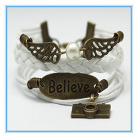 Stylish hand-made love antique owl wings camera knit braided bracelet for ladies women men