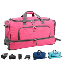 """30"""" Drop Bottom Rolling luggage bags large capacity wheeled duffel double layer Travel Bag 600D Polyester trolley bags"""