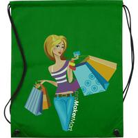 Drawstring non-woven shopping bag, Cheap Hands Free Drawstring non-woven shopping bags with Image Printed, PromoMakerMart