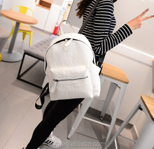 hot-selling 2015 fashion leather backpack for women white/black hiking/shopping/school backpack wholesale