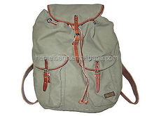 Polo GI Army Green Canvas Leather RL Co Laptop Backpack Book Bag