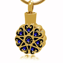 Dongguan Factory Cremation Pendant Jewelry Blue ZC Flower Memorial Stainless Steel Cremation Urns Pendant Pet for Ashes