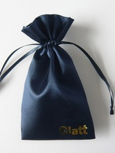 Eco friendly satin drawstring bag for promotional / gift
