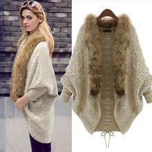 Popular Women's Faux Fur Cloak Cape Coat Batwing Loose Cardigans