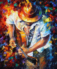 Top Selling Hand Painted Handsome CowBoy Man Playing Guitar Oil Painting On Canvas Man With Guitar Paintings For Wall Decor