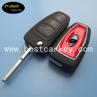 Topbest auto key blank for ford 3 button flip smart key shell blank key for door