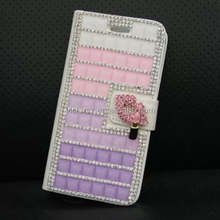 New for iPhone 6 Diamond Purple Pink Leather Cover Case with Card Holder