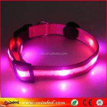 LED Light up Dog Pet Night Safety Collar Bright Flashing Adjustable Nylon velcro dog collar