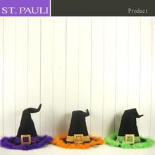 3 sparkley glitter colors chic felt halloween party witch hat set for table decoration