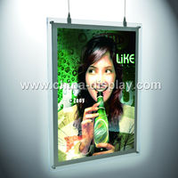 popular Transparent colored acrylic material hanging displayed color changing led light box