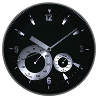 "12"" cheap plastic round gift wall decoration clock with weather station"