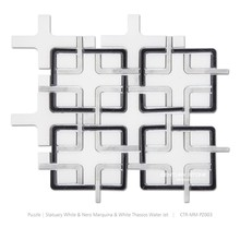 Different Water Jet Black and White Marble Mosaic Floor Tile