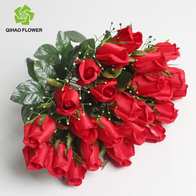 Rosa Vermelha Para O Casamento Falso De Seda Rosa De Plástico Artificial Rose  Bouquet