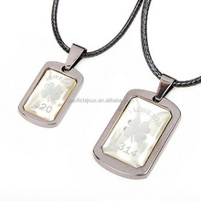 trendy cheap stainless steel engraved clover and words couple necklace