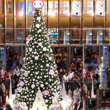 Giant christmas shopping centre tree with brand logo