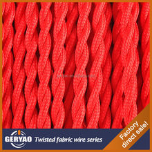 Red colour twisted colored extension cord plaited colourful electrical wire braided cable
