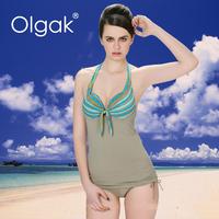 Olgak Fashion Color Strip Two Piece Tankini Swimwear With Shorts