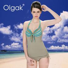 Olgak tira de Color moda de dos piezas Tankini traje de baño con pantalones cortos