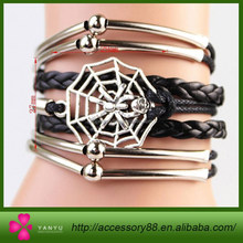 New handmade bracelet Spider Charms Infinity Bracelet black leather bracelet,Best Gift!