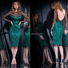 2015Custom made Sexy Long Sleeve Party/Prom/Graduation Dresses Short Emerald Green Backless Homecoming Dresses 2015