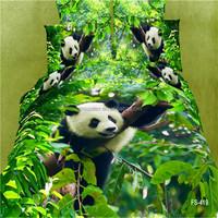 Cotton Duvet Quilt Cover Pillow Case Bed Set Animal Print 3D Panda Comfort Green